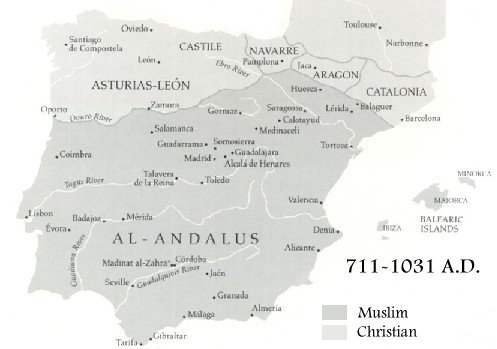 Map Of Spain Under Moorish Rule.The Muslim Expansion Into Europe